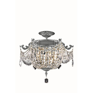 Esperanza Pewter Three-Light Flush Mount with Elegant Cut Crystal