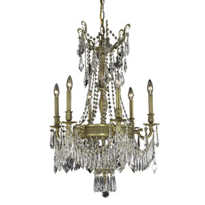 Esperanza French Gold Nine-Light 22-Inch Chandelier with Royal Cut Clear Crystal