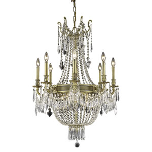 Esperanza French Gold Twelve-Light 26-Inch Chandelier with Royal Cut Clear Crystal