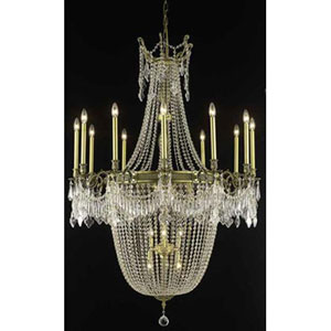 Esperanza Antique Bronze Twenty-Two Light Chandelier with Clear Royal Cut Crystals