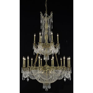 Esperanza French Gold Twenty-Seven Light Chandelier with Clear Royal Cut Crystals
