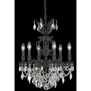 Marseille Dark Bronze Six-Light Chandelier with Golden Shadow/Champagne Royal Cut Crystals