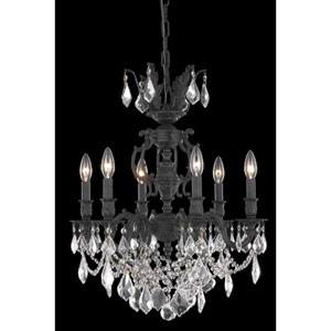 Marseille Dark Bronze Six-Light Chandelier with Clear Royal Cut Crystals