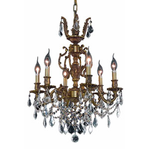 Marseille French Gold Six-Light 20-Inch Chandelier with Royal Cut Clear Crystal