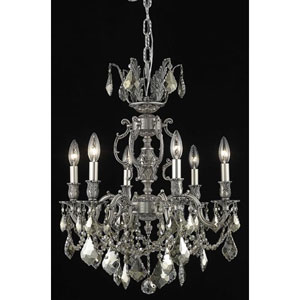 Marseille Pewter Six-Light Chandelier with Golden Teak/Smoky Royal Cut Crystals
