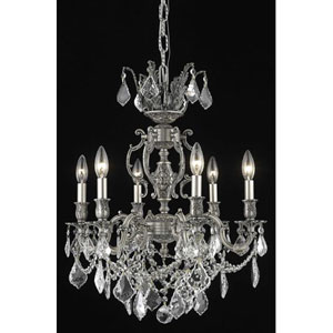 Marseille Pewter Six-Light Chandelier with Clear Royal Cut Crystals