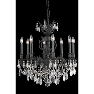 Marseille Dark Bronze Eight-Light Chandelier with Clear Royal Cut Crystals