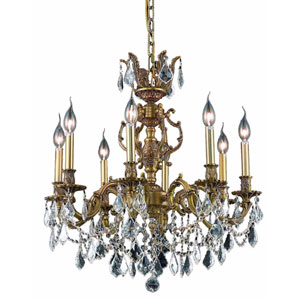 Marseille French Gold Eight-Light 24-Inch Chandelier with Royal Cut Clear Crystal
