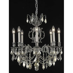 Marseille Pewter Eight-Light Chandelier with Golden Teak/Smoky Royal Cut Crystals