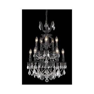 Marseille Dark Bronze Ten-Light Chandelier with Clear Royal Cut Crystals