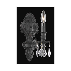 Monarch Dark Bronze Single Light Sconce with Golden Shadow/Champagne Royal Cut Crystals