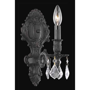 Monarch Dark Bronze Single Light Sconce with Clear Royal Cut Crystals