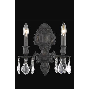 Monarch Dark Bronze Two-Light Sconce with Clear Royal Cut Crystals