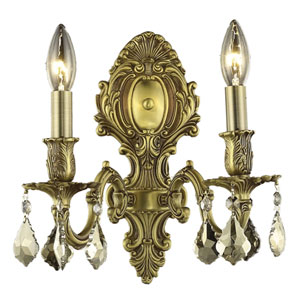 Monarch French Gold Two-Light 10-Inch Wall Sconce with Royal Cut Golden Teak Smoky Crystal