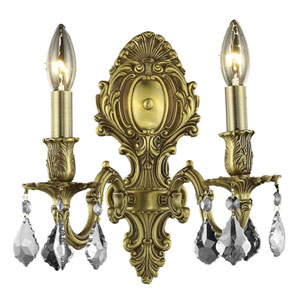 Monarch French Gold Two-Light 10-Inch Wall Sconce with Royal Cut Clear Crystal