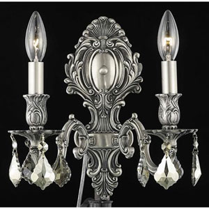 Monarch Pewter Two-Light Sconce with Golden Teak/Smoky Royal Cut Crystals