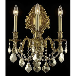 Monarch French Gold Three-Light 14-Inch Wall Sconce with Royal Cut Golden Teak Smoky Crystal