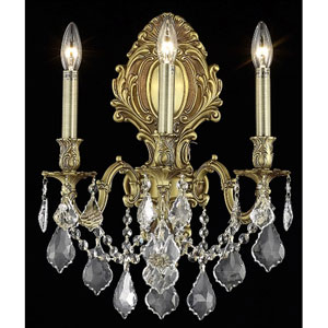 Monarch French Gold Three-Light 14-Inch Wall Sconce with Royal Cut Clear Crystal