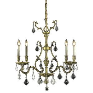 Monarch Antique Bronze Four-Light 26-Inch Chandelier with Royal Cut Clear Crystal