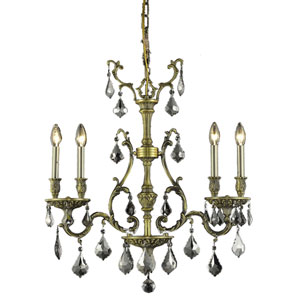 Monarch Antique Bronze Four-Light Chandelier with Silver Shade/Grey Royal Cut Crystals