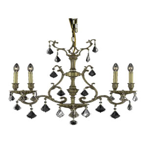 Monarch French Gold Four-Light 26-Inch Chandelier with Royal Cut Clear Crystal