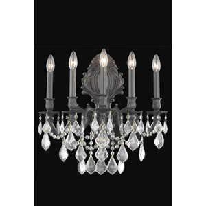 Monarch Dark Bronze Five-Light Sconce with Golden Shadow/Champagne Royal Cut Crystals