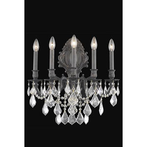 Monarch Dark Bronze Five-Light Sconce with Clear Royal Cut Crystals