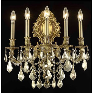 Monarch French Gold Five-Light 21-Inch Wall Sconce with Royal Cut Golden Teak Smoky Crystal