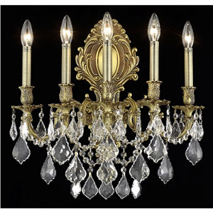 Monarch French Gold Five-Light 21-Inch Wall Sconce with Royal Cut Clear Crystal