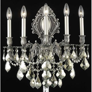 Monarch Pewter Five-Light Sconce with Golden Teak/Smoky Royal Cut Crystals