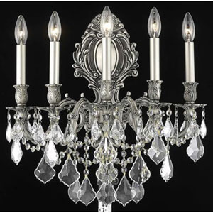 Monarch Pewter Five-Light Sconce with Clear Royal Cut Crystals