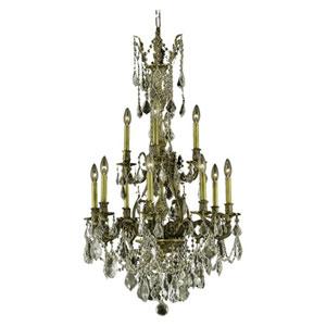 Monarch Dark Bronze Twelve-Light Chandelier with Clear Royal Cut Crystals