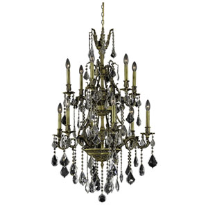 Monarch Antique Bronze Twelve-Light 27-Inch Chandelier with Royal Cut Clear Crystal