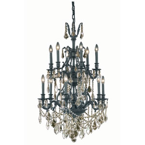 Monarch Dark Bronze Twelve-Light Chandelier with Golden Shadow/Champagne Royal Cut Crystals