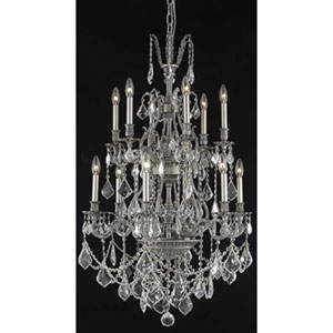 Monarch Dark Bronze Twelve-Light Chandelier with Clear Royal Cut Crystals