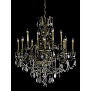 Monarch Antique Bronze Twelve-Light Chandelier with Clear Royal Cut Crystals