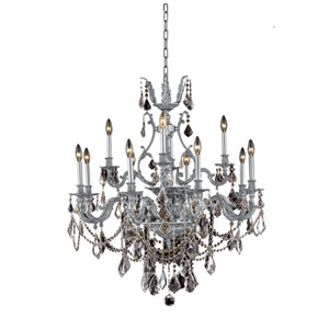 Monarch Pewter Twelve-Light Chandelier with Clear Royal Cut Crystals