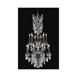 Monarch Dark Bronze Sixteen-Light Chandelier with Clear Royal Cut Crystals