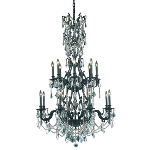 Monarch Dark Bronze Sixteen-Light Chandelier with Clear Royal Cut Crystals