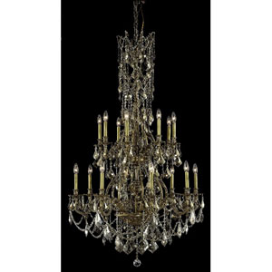 Monarch French Gold Sixteen-Light 37-Inch Chandelier with Royal Cut Golden Teak Smoky Crystal