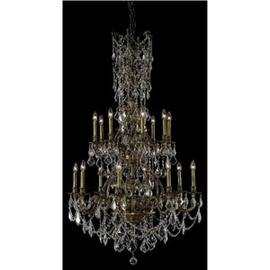 Monarch French Gold Sixteen-Light 37-Inch Chandelier with Royal Cut Clear Crystal