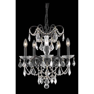 Athena Dark Bronze Five-Light Chandelier with Royal Cut Crystal