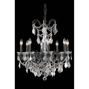 Athena Dark Bronze Eight-Light Chandelier with Royal Cut Crystal