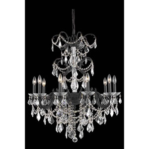 Athena Dark Bronze 10-Light Chandelier with Royal Cut Crystal