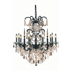 Athena Dark Bronze Ten-Light Chandelier with Golden Teak/Smoky Royal Cut Crystals
