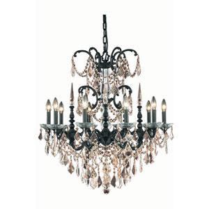 Athena Dark Bronze Ten-Light Chandelier with Golden Teak/Smoky Royal Cut Crystals