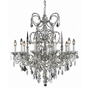 Athena Pewter Ten-Light Chandelier with Golden Teak/Smoky Royal Cut Crystals