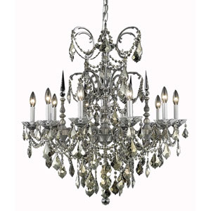 Athena Pewter Ten-Light Chandelier with Clear Royal Cut Crystals