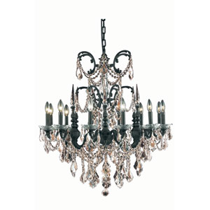 Athena Dark Bronze Twelve-Light Chandelier with Golden Teak/Smoky Royal Cut Crystals