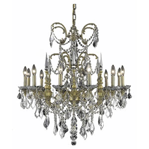 Athena French Gold Twelve-Light Chandelier with Clear Royal Cut Crystals
